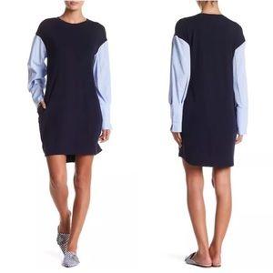 Eci New Work Poplin Shirt Striped Navy Dress 14